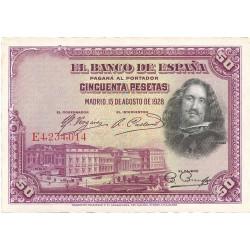 España 50 Ptas. 1928. EBC+/SC-. (Nuevo con doblez). (Serie E-Velazquez). EDF. C5 - PIK. 75b