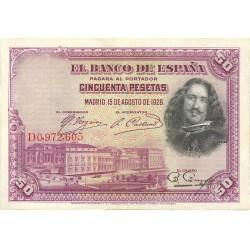 España 50 Ptas. 1928. SC-/EBC+. (Nuevo con doblez). (Serie D-Velazquez). EDF. C5 - PIK. 75b