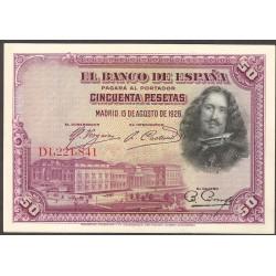 España 50 Ptas. 1928. EBC+/SC-. (Nuevos con doblez). (Serie D-PAREJA Correlativa)-(Velazquez). EDF. C5 - PIK. 75b