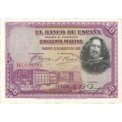 España 50 Ptas. 1928. EBC+/SC-. (Nuevos con doblez). (Serie B-PAREJA correlativa)-(Velazquez). EDF. C5 - PIK. 75b