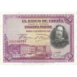 España 50 Ptas. 1928. EBC+/SC-. (Nuevo con doblez). (Serie C-Velazquez). EDF. C5 - PIK. 75b