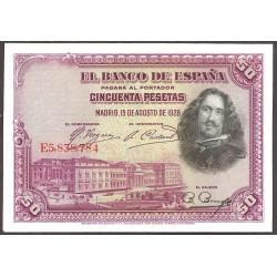 España 50 Ptas. 1928. SC. (Plancha). (Serie E-PAREJA Correlativa-Velazquez). EDF. C5 - PIK. 75b
