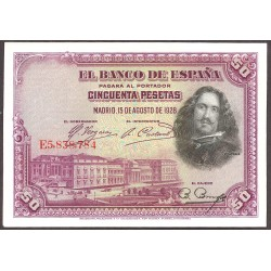 España 50 Ptas. 1928. SC. (Plancha). (Serie E-PAREJA Correlativa-Velazquez). EDF. C5 - PIK. 75b.