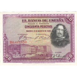 España 50 Ptas. 1928. EBC+/SC-. (Nuevo con doblez). (Serie B-Velazquez). EDF. C5 - PIK. 369