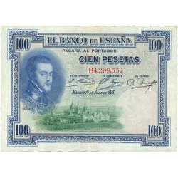 España 100 Ptas. 1925. MBC+. (Serie B-(Felipe II). PIK. 69 b. - EDF. B127. (Sello en seco en angulo sup.izqdo. para circular d
