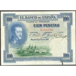 España 100 Ptas. 1925. MBC. (Pqña.manchita en margen inf.). (Sin Serie-(Felipe II). PIK. 69 b. - EDF. C1. (Sello en seco angul