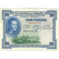 España 100 Ptas. 1925. MBC. (Serie A-(Felipe II). PIK. 69 b. - EDF. B127. (Sello en seco en angulo sup.izqdo. para circular du