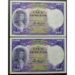 España 100 Ptas. 1931. SC/SC-. (Nuevos con marquitas en margen superior e inferior por atado de paquete). (G.F.Cordoba-PAREJA