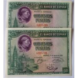 España 500 Ptas. 1928. SC/UNC. (De Paquete). (Cisneros-PAREJA Correlativa). PIK. 77a - EDF. C7. (Numeracion segun estoc)