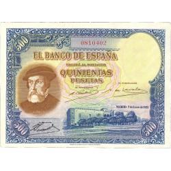 España 500 Ptas. 1935. SC/UNC. (Nuevo con insig.marquita en una esquina). (H.Cortes). EDF. C16 - PIK. 89