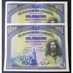 España 1000 Ptas. 1928. SC-. Nuevos con casi inapreciable marquita central que no afecta al papel.Preciosos). (Fernando-PAREJA