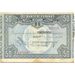España Bilbao. . 50 Ptas. 1937. -01 Enero. MBC-. (Doblez). (Caja.Ah.MUNICIPAL). EDF. .C21 d - PIK. S564