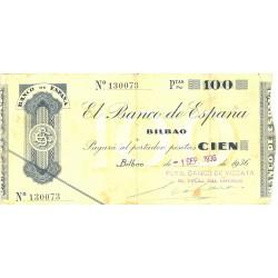España Bilbao. . 100 Ptas. 1936. -01 Sepbre. BC. (Doblez.Planchado). (Bco.VIZCAYA)-(Fcha.Tamp.). EDF. C22a - PIK. S554