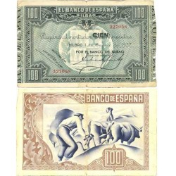 España Bilbao. . 100 Ptas. 1937. -01 Enero. MBC-. (Doblez). (Bco.BILBAO)-(Sin matriz). EDF. C41a - PIK. S565