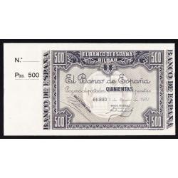 España BILBAO-(PV). . 500 Ptas. 1937. -1 de Enero. SC. (Con Matriz). (El Banco de España). RARO/A. EDF. NE26a - PIK. S566