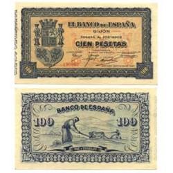 España GIJON-(O). . 100 Ptas. 1937. -Septiembre. SC. (Bco.de España). PIK. S580 - EDF. C50