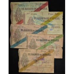 España GIJON-(O). Serie. 1936. -5 Novbre. MC. (Roturas). (Bco.de España)-(Coleccion Completa- 5 Valores-5 a 100 Ptas.). EDF. C