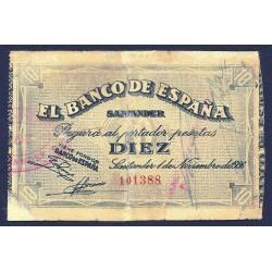 España SANTANDER . 10 Ptas. 1936. -1º de Noviembre. RC+/BC. (Reparado). (Bco.de ESPAÑA). MUY RARO/A. EDF. C27f - PIK. S582