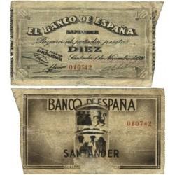 España SANTANDER . 10 Ptas. 1936. -1º de Noviembre. RC+/BC-. (Reparado). (Bco.de ESPAÑA). MUY RARO/A. EDF. C27f - PIK. S582