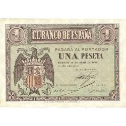 España 1 Ptas. 1938. Abril. SC. (Casi inapreciable maquita). (Serie D). EDF. D29 a - PIK. 109a
