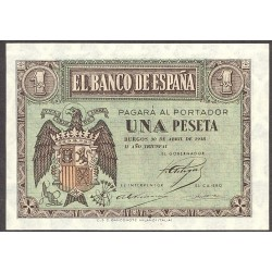 España 1 Ptas. 1938. Abril. SC. (Serie A). EDF. D29 - PIK. 108a. (Numeracion segun estoc)