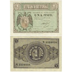 España 1 Ptas. 1938. Abril. SC. (Serie M). EDF. D29 a - PIK. 109a