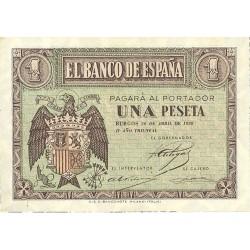 España 1 Ptas. 1938. Abril. SC. (Serie E). EDF. D29 a - PIK. 109a
