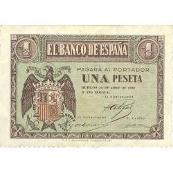 España 1 Ptas. 1938. Abril. SC/SC-. (Nuevo con insig.marquita esquina). (Serie D). PIK. 108a - EDF. D29