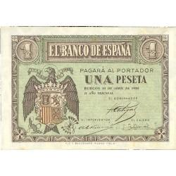 España 1 Ptas. 1938. Abril. SC/SC-. (Nuevo con lev.marquita por presion). (Serie L). PIK. 108 - HG. 433