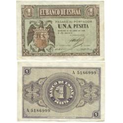 España 1 Ptas. 1938. Abril. SC/SC-. (Nueva con manchita en esquina). (Serie A). PIK. 108a - EDF. D29