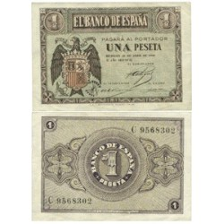 España 1 Ptas. 1938. Abril. SC/SC-. (Nuevo con lev.marquita esquina). (Serie C). EDF. D29 a - PIK. 109a