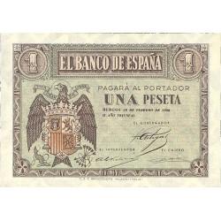 España 1 Ptas. 1938. Febrero. SC. (Serie F-PAREJA correlativa). EDF. D28 a - PIK. 107a