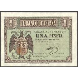 España 1 Ptas. 1938. Abril. SC. (Lev.tono del papel). (Serie A-PAREJA correlativa). EDF. D29 a - PIK. 109a. (Numeracion segun