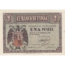 España 1 Ptas. 1938. Febrero. SC-/SC. (Nuevo con muy. lev.marquitas). (Serie F). EDF. D28 a - HG. 431