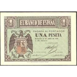 España 1 Ptas. 1938. Abril. SC-/SC. (Nuevo con lev.marquita esquina). (Serie C). EDF. D29 a - PIK. 109a