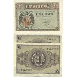 España 1 Ptas. 1938. Febrero. SC. (Serie E-PAREJA Correlativa). EDF. D28 a - PIK. 107a