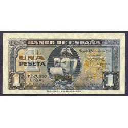 España 1 Ptas. 1940. Sepbre. SC/SC-. (Nuevocon insig.marquita margen). (Serie B-Sta.Maria). EDF. D43 a - PIK. 122a