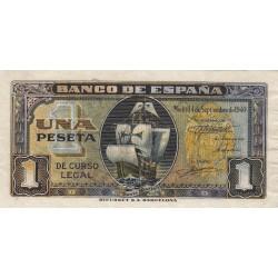 España 1 Ptas. 1940. Sepbre. MBC+/EBC-. (Muy nuevo con rugosidades por mojado. Su tono). (Serie C-Sta.Maria). EDF. D43 a - PI