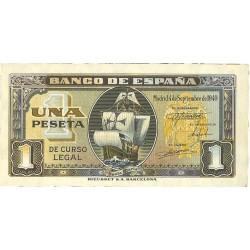 España 1 Ptas. 1940. Sepbre. SC-. (Nueva con lev.marquita y esquina.lig.redondeada). (Serie H-PAREJA Correlativa-Sta.Maria).