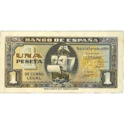 España 1 Ptas. 1940. Sepbre. EBC+. (Casi nuevo con inapreciable marquita). (Serie G-Sta.Maria). EDF. D43 a - PIK. 122a