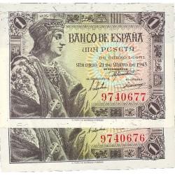 España 1 Ptas. 1943. SC. (Sin Serie-PAREJA Correlativa-Fernando). EDF. D48 - PIK. 126a