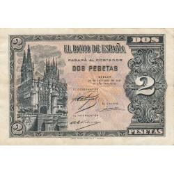España 2 Ptas. 1937. 12 Octubre. MBC+/EBC-. (Muy nuevo con doblez.Entero.Planchado). (Serie B). MUY ESCASO/A. EDF. D27 a - PIK
