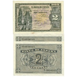 España 2 Ptas. 1938. Abril. SC. (Serie M-PAREJA Correlativa). EDF. D30 a - PIK. 109a