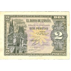 España 2 Ptas. 1938. Abril. MBC-/MBC. (Doblez.Marquitas). (Serie C). EDF. D30 a - PIK. 109