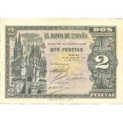 España 2 Ptas. 1938. Abril. EBC+/SC-. (Nuevos con lev.marquitas margen y algo de tonol). (Serie I-(PAREJA Correlativa). EDF. D