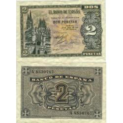 España 2 Ptas. 1938. Abril. EBC-. (Muy nuevo con lev.doblez). (Serie A). EDF. D30 - PIK. 109a