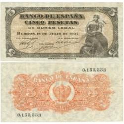 España 5 Ptas. 1937. MBC/MBC+. (Doblez.Planchado). (Sin Serie). RARO/A. EDF. D25 - PIK. 106a