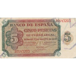 España 5 Ptas. 1938. MBC+. (Marcas que no afectan al papel). (Serie J). EDF. D36 a - PIK. 110a