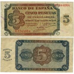 España 5 Ptas. 1938. SC. (Serie K). EDF. D36 a - PIK. 110a
