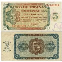 España 5 Ptas. 1938. SC. (Serie G). EDF. D36 a - PIK. 110a